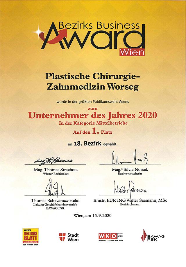 Urkunde des Bezirks Business Awards des WIENER BEZIRKSBLATT für die Plastische Chirguie-Zahnmedizin Worseg aus Wien Währing